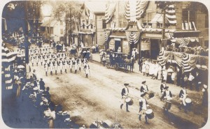 Varnum Continentals marching in East Greenwich's Independence Day Parade in 1908.