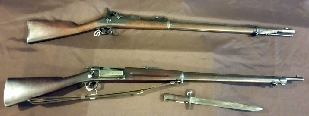 (top) Springfield Model 1873 .45 caliber rifle used by American volunteer forces in Spanish American War. (bottom) Krag-Jorgensen Model 1898 .30 caliber rifle issued to Regular Army troops. Both from Varnum Armory Collection.