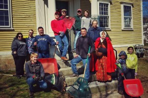 Volunteers for yard cleanup at the Varnum House Museum.
