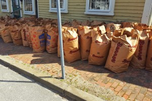 Filled refuse bags at the Varnum House Museum.