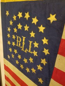 Our restored and newly-framed Company L guidon flag