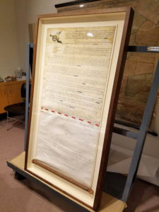 Restored original charter for the Rhode Island United Train of Artillery.