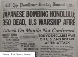 Providence Journal coverage of the Pearl Harbor attack.