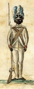 A 1781 watercolor Drawing, of a black infantryman of the 1st Rhode Island Regiment