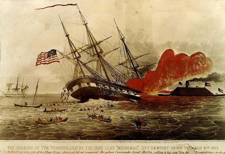 USS Cumberland on fire and being rammed by the CSS Virginia
