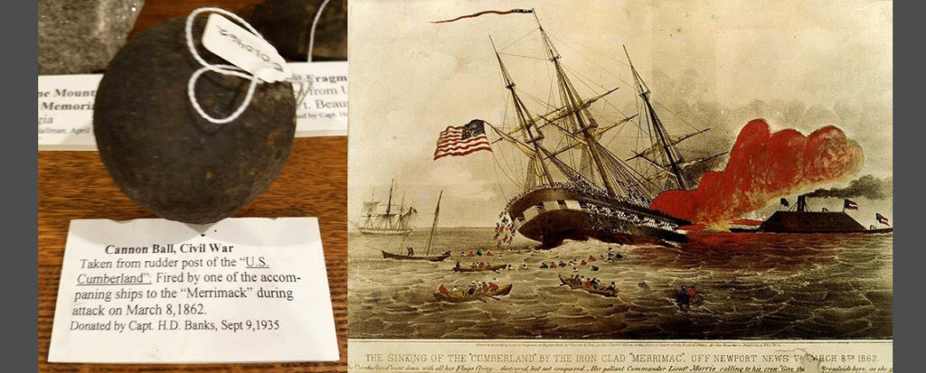 [FEATURED EXHIBIT] Cannon Ball Fired by a Ship Accompanying the CSS Virginia (Merrimack)