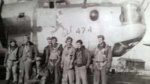 Tom Campbell's flight crew about to fly the Operation Varsity mission. Tom is second from right.