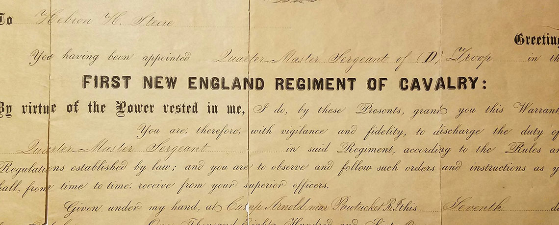 [FEATURED EXHIBIT] Civil War Enlistment Document from the First New England Cavalry