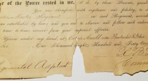 Enlistment document for he First Rhode Island Cavalry.