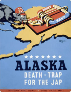 "Poster for Thirteenth Naval District, U.S. Navy, showing a rat representing Japan, approaching a mousetrap labeled ""Army Navy Civilian""."