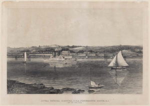Engraving of Lovell General Hospital in Portsmouth, RI.