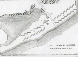 Layout of Map showing location of Lovell General Hospital in Portsmouth, RI.