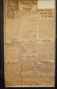 July 1919 news article about first US Flag to enter Germany after World War I Armistice