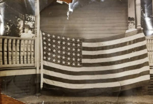 Historic image of the first US Flag to enter Germany after World War I Armistice