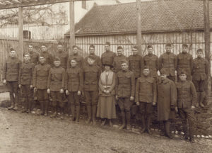 Gertrude Bray with members of the 42nd Division in France.