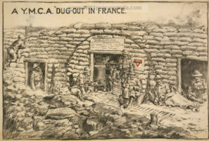 "YMCA ""dug-out"" hut in France."