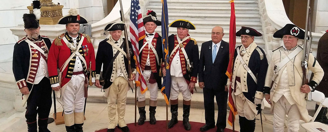 Varnum Historic Military Command at the Rhode Island State House for flag presentation