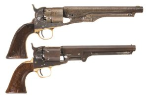 Two Colt Percussion Revolvers: (top) Colt Model 1860 Army Percussion Revolver, and (bottom) Colt Model 1851 Navy