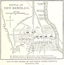 Map of the Battle of New Berne