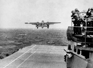 A B-25 taking off from USS Hornet (CV-8) for the raid.
