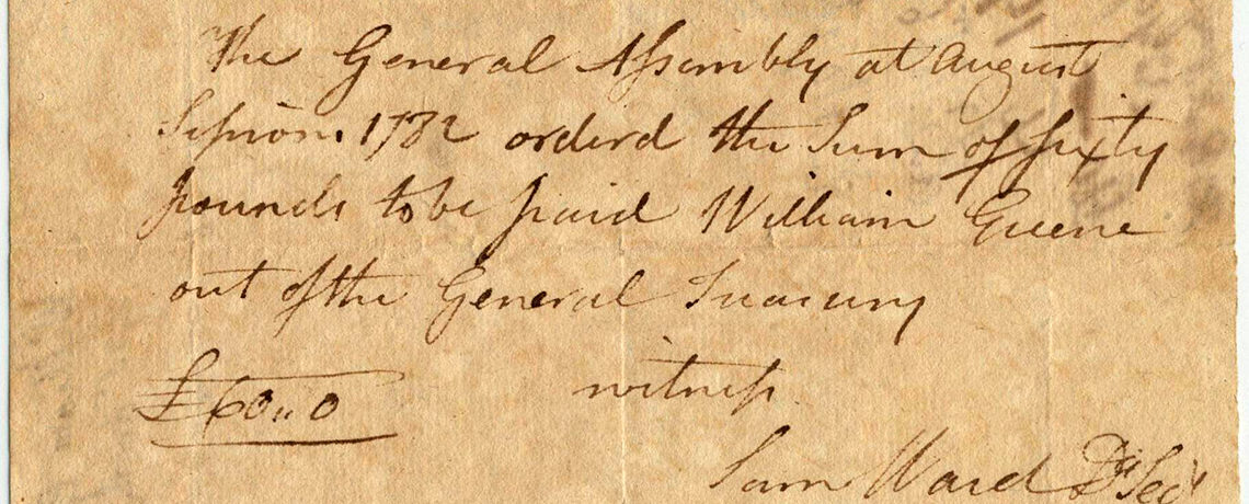 [FEATURED EXHIBIT] American Revolutionary War Letter signed by Hopkins, Greene, and Ward